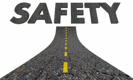 Safety Road Word Travel Transportation Avoid Danger 3d Illustration