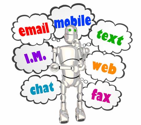 Email Mobile Text Instant Message Robot Communication 3d Illustration 版權商用圖片