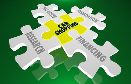Auto het winkelen het raadsel 3d illustratie van de onderzoekonderhandeling Stockfoto