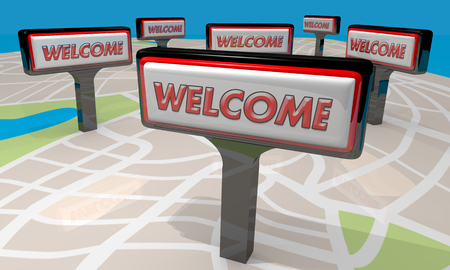 Welcome Signs Map Stores Locations 3d Illustration Stok Fotoğraf