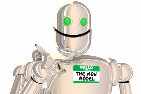 Robot I Am The New Model Name Tag Modern Update 3d Illustration