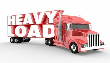 Heavy Load Truck Semi Hauler 18 Wheeler 3d Illustration 스톡 콘텐츠