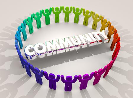 Gemeenschap Vele Mensen Verzamelden Groeps de Samenleving 3d Illustratie Stockfoto