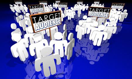 Public cible Clients Signes de base Groupes 3d Illustration