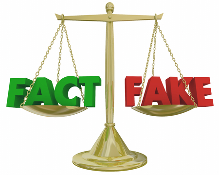 Fact Vs Fake Gold Scale Compare Truth Lies 3d Illustration