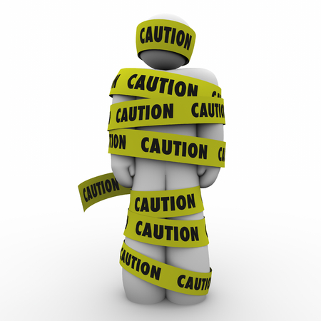Caution Danger Risk Be Careful Man Wrapped in Tape 3d Illustration