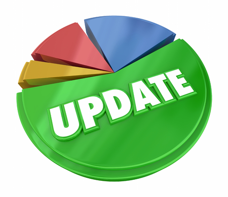 업데이트 원형 차트 최신 새 데이터 백분율 3D 그림 스톡 콘텐츠 - 93203885