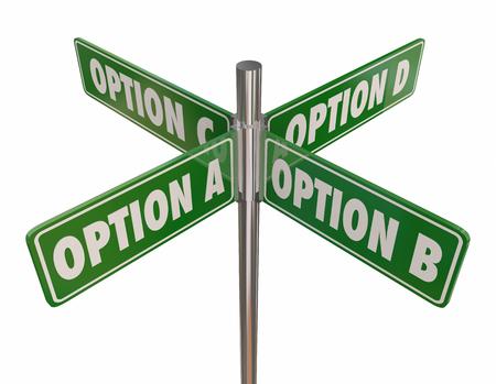 옵션 ABCD 선택 4 웨이 스트리트 도로 표지판 3D 일러스트레이션