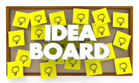 Idea Board Light Bulbs Inspiration Sticky Notes 3d Illustration   Stock Photo