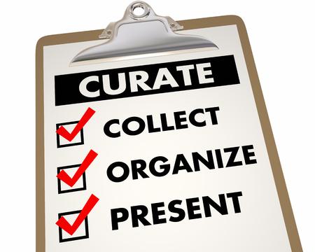 Curate Inhoudscontrolelijst Verzamel Organiseer Huidige 3d Illustratie