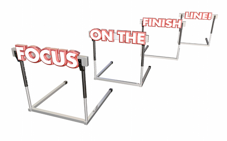 Focus on the Finish Line Hurdles End is Near 3d Illustration