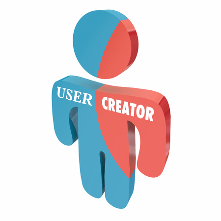User and Creator Person Creating Consuming Content 3d Illustration