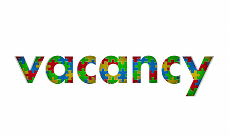 Vacancy Puzzle Pieces Opening Word 3d Illustration