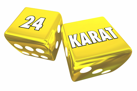24 Karat Gold Dice Rolling 24K Gamble Jackpot Winnings 3d Illustration Stok Fotoğraf