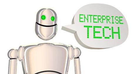 エンタープライズテックロボットスピーチバブル技術3Dイラスト