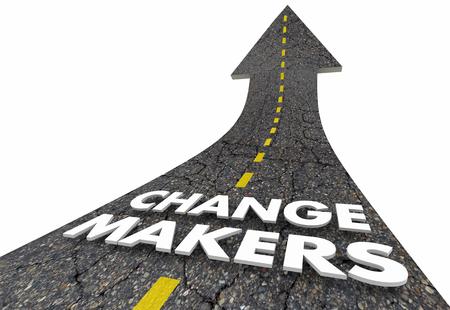Change Makers Road Arrow Up Improvement Innovation 3d Illustration