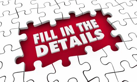 Fill in the Details Puzzle Words Finish Complete 3d Illustration Banco de Imagens