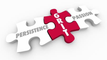 Grit Persistence Passion Puzzle Pieces 3d Illustration