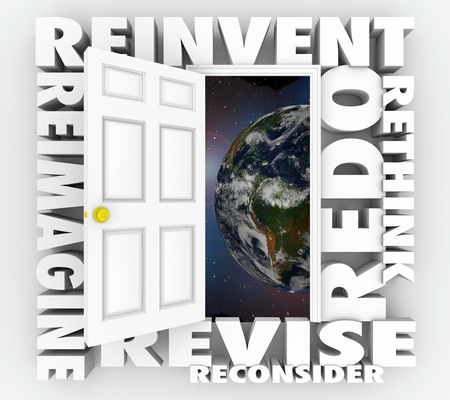 Reinvent the World Rethink Redo Revise Door Words 3d Illustration Stock Photo