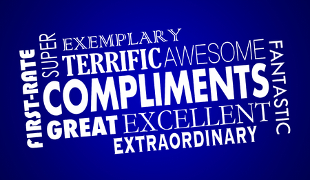 Compliments Word Collage Great Excellent 3d Illustration Фото со стока