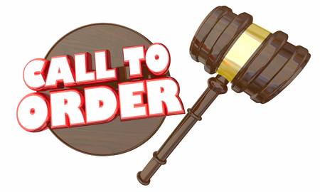 Call to Order Gavel Begin Meeting Start Discussion 3d Illustration Stock Photo