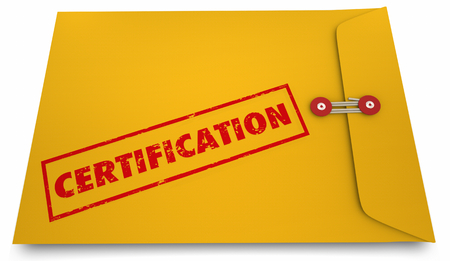 認定イエローエンベロープ認定ドキュメント3Dイラスト 写真素材