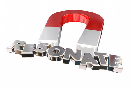 Resonate Connect Make Impact Word Magnet 3d Illustration Stock Photo