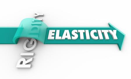 Elasticity Vs Rigidity Arrow Jumping Over Word 3d Illustration Stok Fotoğraf