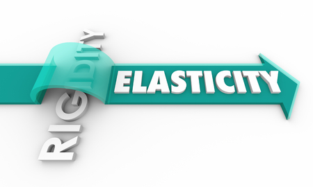 Elasticity Vs Rigidity Arrow Jumping Over Word 3d Illustration Stock Photo