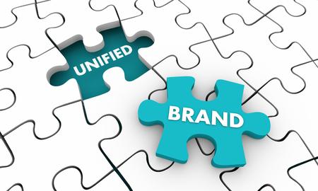 Verenigd merk puzzel stuk totale branding bedrijf 3d illustratie Stockfoto