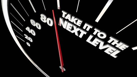 Breng het naar de volgende niveau snelheidsmeter snelheid 3d illustratie Stockfoto - 93455508