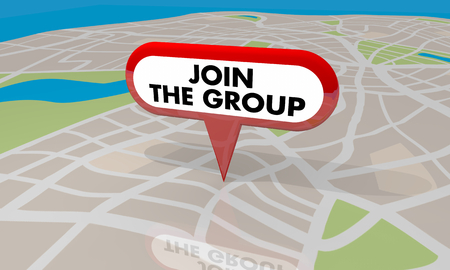 Join the Group Map Pin Sign Interaction 3d Illustration