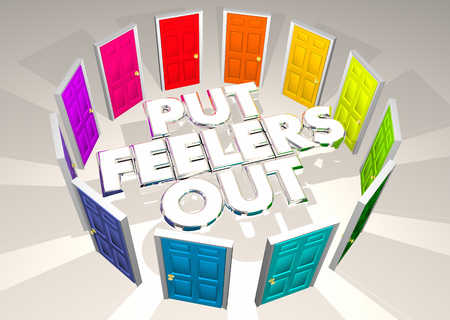 Put Feelers Out Doors Outreach Communication Campaign 3d Illustration Stock Photo