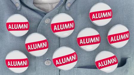 Alumni Buttons Pins Shirt College Graduate Student Pride 3d Illustration