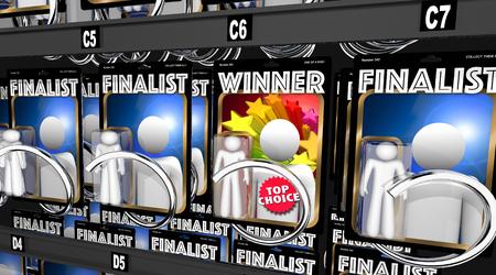 우승자 대 결승 진출권 경쟁 챔피언 선정 3D 일러스트레이션