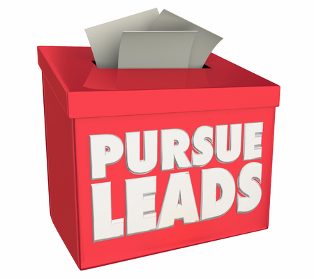 Pursue Leads Follow Up Customer Prospects Suggestion Box 3d Illustration