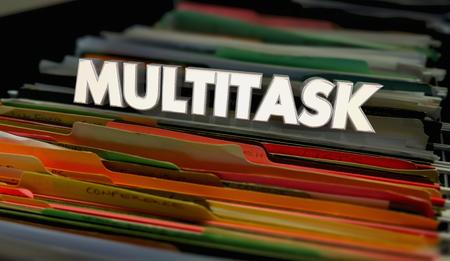 Multitask File Folders Many Jobs at Once 3d Illustration