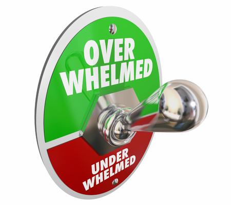 Overwhelmed Vs Underwhelmed Toggle Switch 3d Illustration Stock Illustration - 93755730
