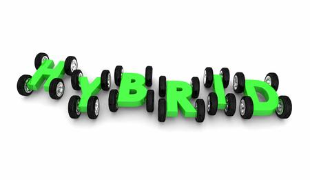 Hybrid Cars Letters Word Alternative Fuel 3d Illustration