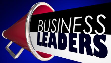 Business Leaders Megaphone Bullhorn Words 3d Illustration Standard-Bild