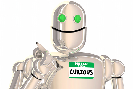 Hello I Am Curious Robot Asking Questions Name Tag 3d Illustration 版權商用圖片