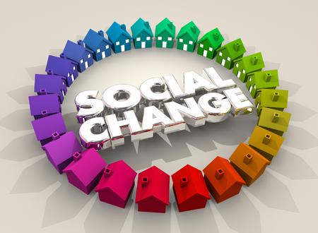 Sociale verandering huizen huizen gemeenschap samenleving 3d illustratie Stockfoto