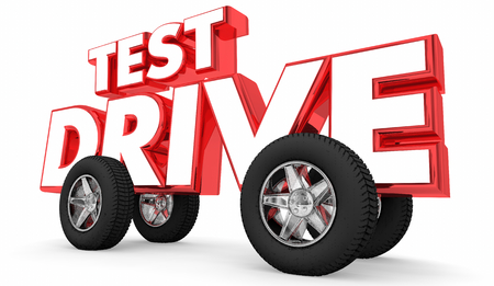 Test Drive New Vehicle Wheels on Word 3d Illustration