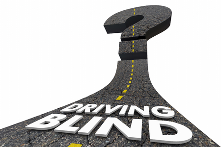 ドライビングブラインド疑問符不確定運命道路3Dイラスト