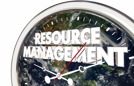 Resource Management Earth Clock Words 3d Illustration
