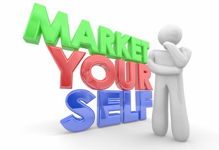 Market Yourself Promote Your Abilities Skills Person 3d Illustration Banco de Imagens