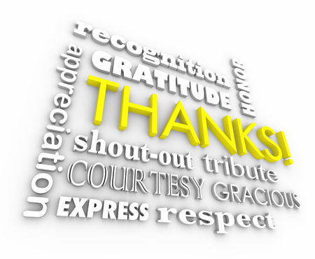 Thanks Gratitude Word Collage Thank You 3d Illustration Stock Photo
