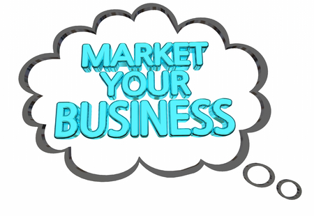 Market Your Business Thought Cloud Ideas Advertising 3d Illustration