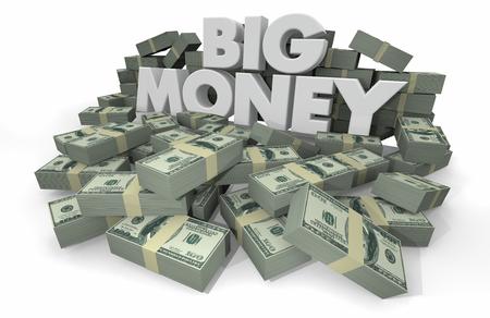 Big Money Piles Stacks Wealthy Savings 3d Illustration Reklamní fotografie