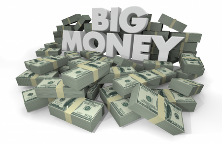 Big Money Piles Stacks Wealthy Savings 3d Illustration Stock Photo